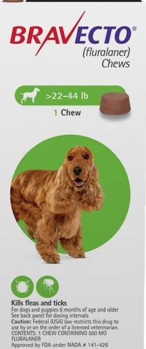 Bravecto Chew Tab Green 10-20kg 1 <br>$62