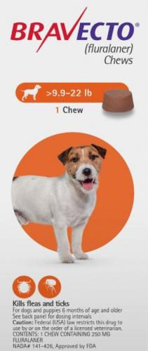 Bravecto Chew Tab Orange 4.5-10kg 1 <br>$60