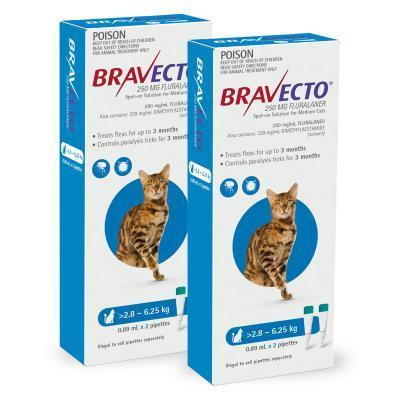 Bravecto Feline Dark Blue 2.8-6.25kg<br>$54